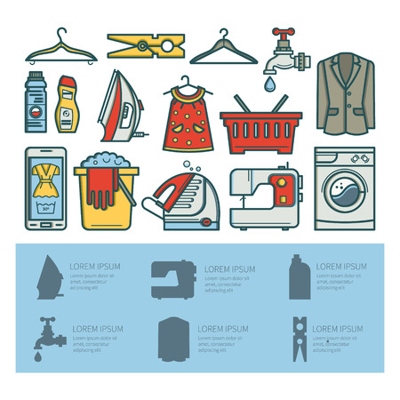 laundry detergent: Illustration laundry room - washing machine, laundry basket, laundry detergent made in fashionable style vector lines. Laundry room - graphic for posters, banners, web sites.