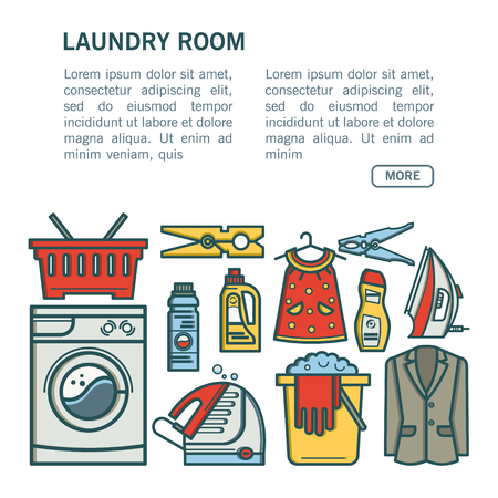 laundry room: Illustration laundry room - washing machine, laundry basket, laundry detergent made in fashionable style vector lines. Laundry room - graphic for posters, banners, web sites.