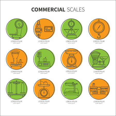 Set icons shop scales