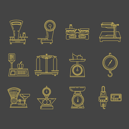 Set of vector icons of kitchen scales. Commercial scales. It can be used in business presentations, as an element banner design, web sites or printed materials. Illustration