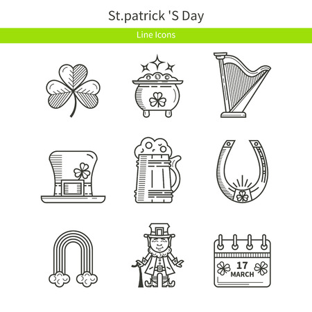 st patrick s day: St. Patrick s Day outline icons
