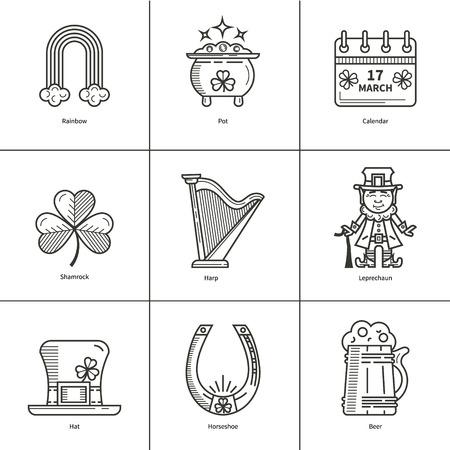 St. Patrick s Day contour icons
