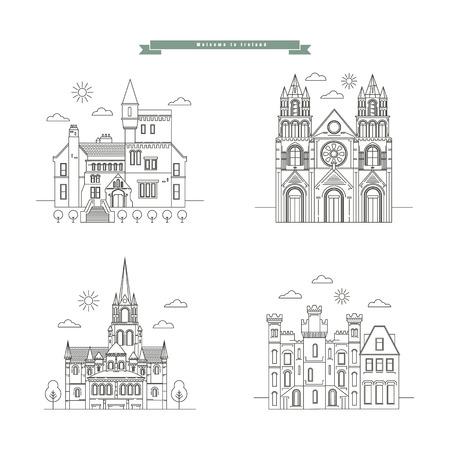 irish cities: Set Landmarks Ireland. Illustration
