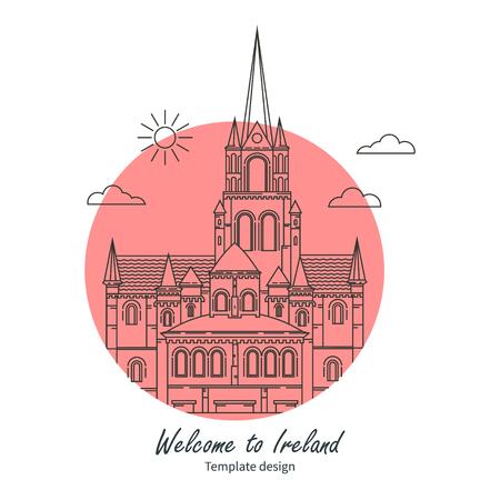 irish cities: Attractions Ireland banner Illustration