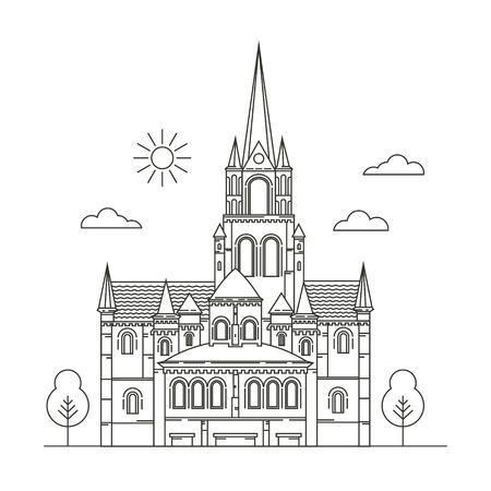 irish cities: Interesting places Ireland. City. Architecture. Flat trend line illustration. Suitable for travel agencies design template.