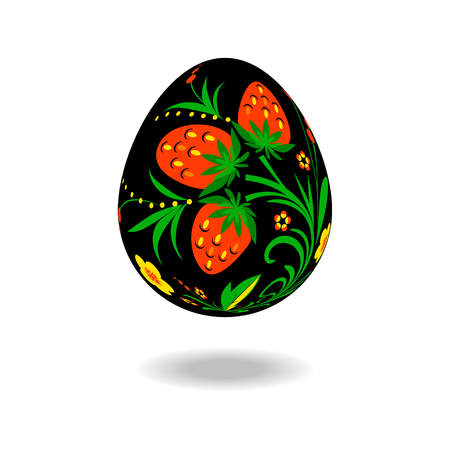 Easter egg decorated with a pattern in style hohloma on an isolated background