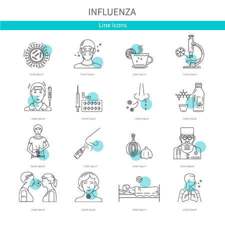 Symptoms and treatment of influenza. Icons in a linear style for web graphics