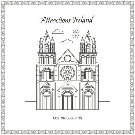 ireland cities: Attractions Ireland. City. Architecture. The flat trend line illustration. Ideal for custom coloring book Illustration