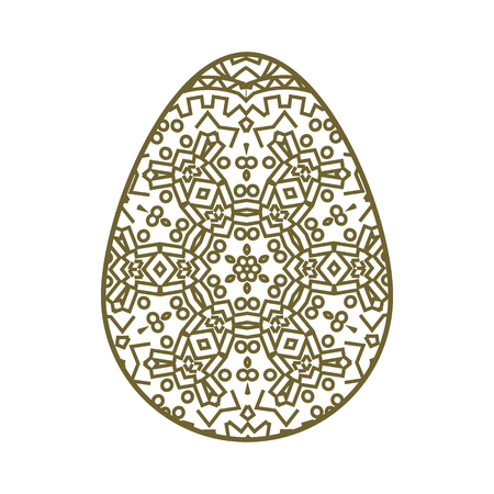 perforated: Easter egg with a geometric pattern. Template for laser cutting. It can be used to design greeting cards, envelopes, invitations, interior elements. Easter vector paper cutting.