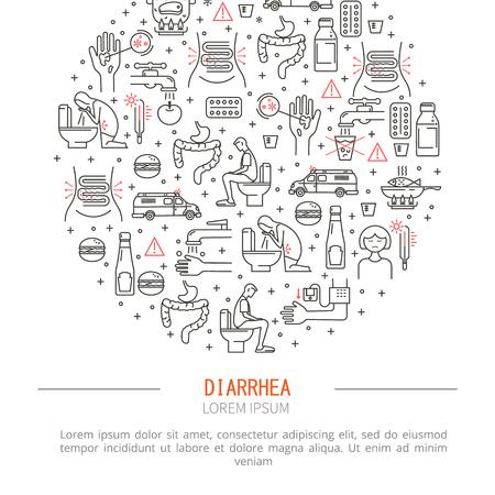 constipation symptom: Diarrhea medicine vector illustration