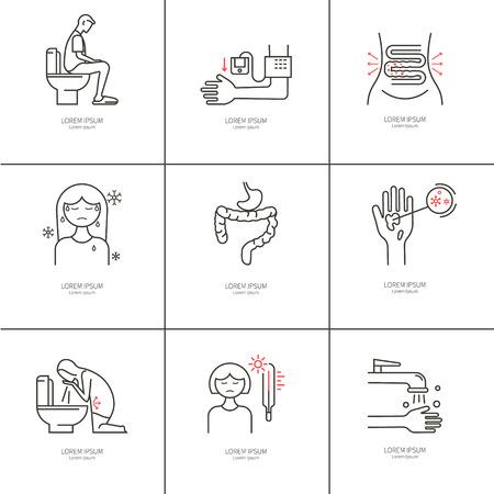 Diarrhea. Causes, symptoms and treatment. Illustration
