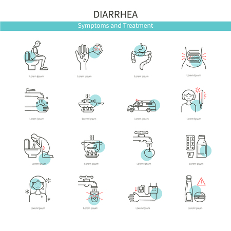 constipation symptom: Medical icons diarrhea
