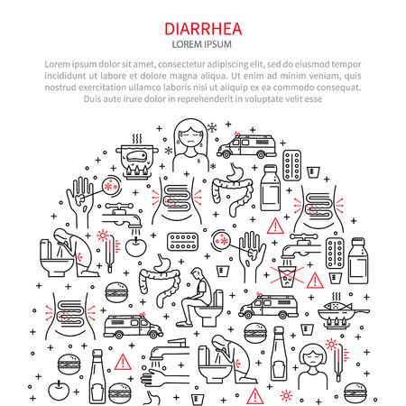 bowel: Medical illustration diarrhea Illustration