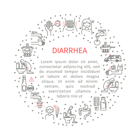 diarrhoea: Icons diarrhoea in the circle Illustration