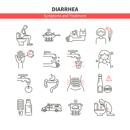 colorectal cancer: Set diarrhea monoline icons Illustration