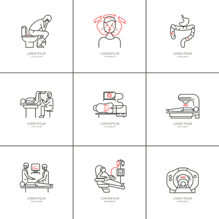 colonoscopy: Cancer of the intestine. Set of linear icons. Illustration