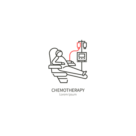 Chemotherapy simple illustration in linear style. The concept of health and medical services