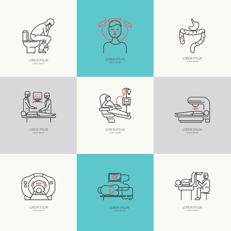 Cancer of the intestine. Set of linear icons. Illustration