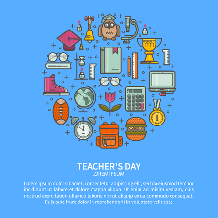 Illustration Happy Teachers Day. The concept of education. Vector in a linear style. Illustration