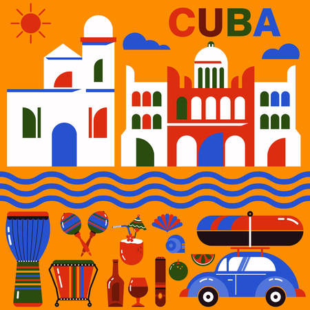cuban culture: Cube illustration. Vector icons of Cuban culture and architecture