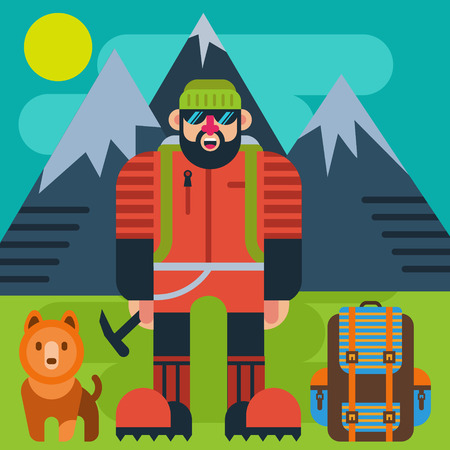 hiking: Climber with dog vector illustration Illustration