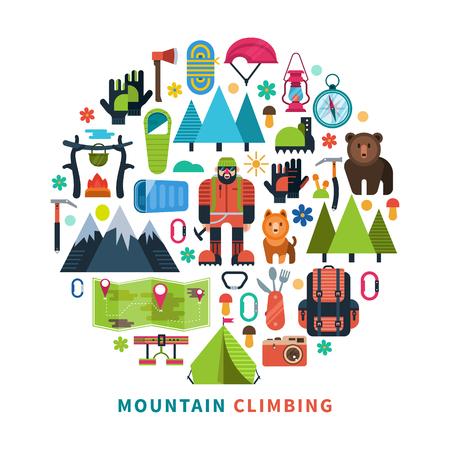 hiking trail: Mountain tourism icons flat