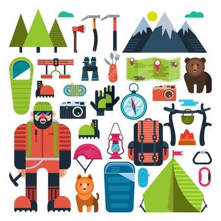 Set flat icon mountaineering Illustration