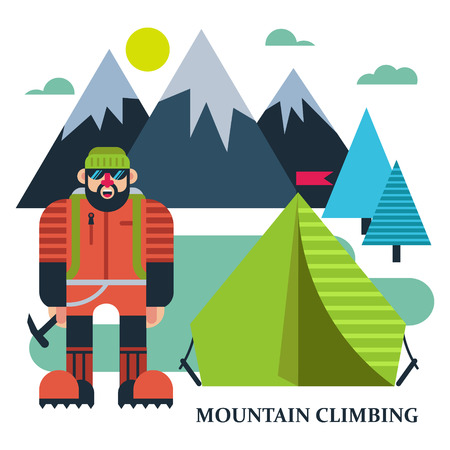 Climbers camp illustration
