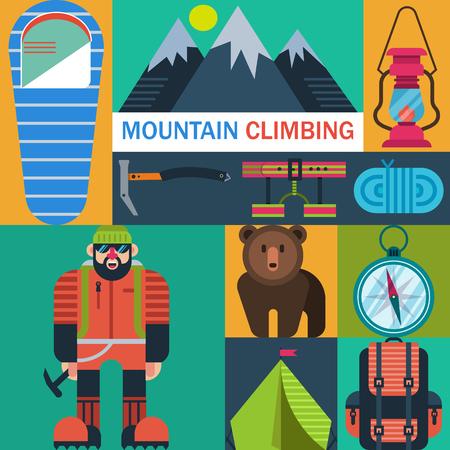 Mountaineering icons vector