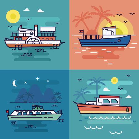 Sailing ships Illustration Vector.