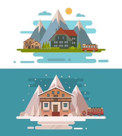 Set of rustic dwellings