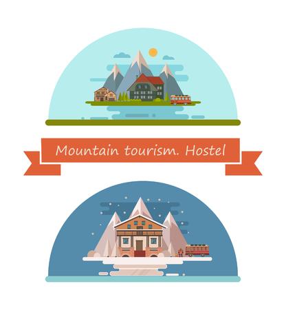 Set of tourist hostels