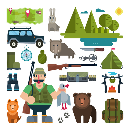 bear trap: Set of icons for hunting
