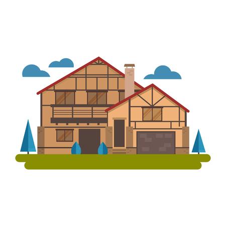 Chalet house vector