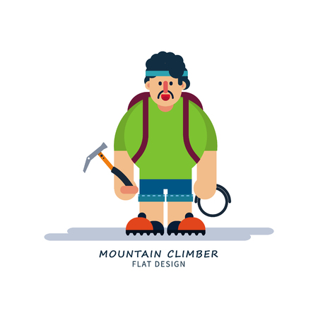 Climber in cartoon style