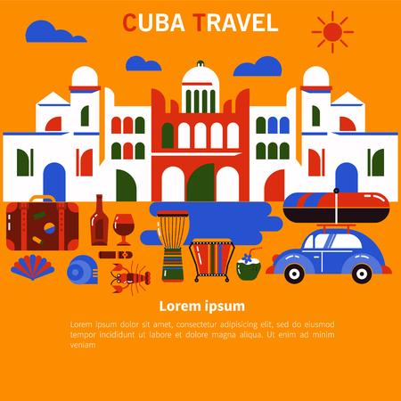 Tourism banner Cuba Havana Illusztráció