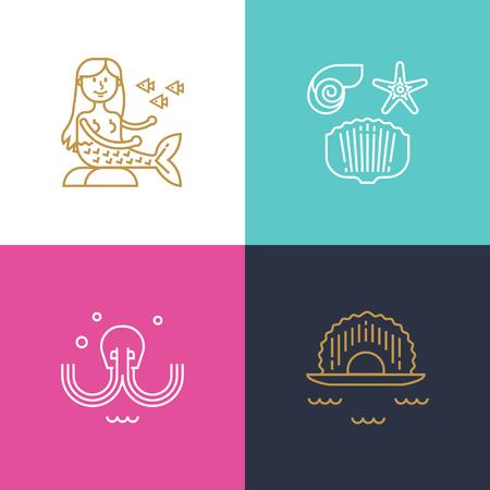 Set of icons underwater world in linear style Illusztráció