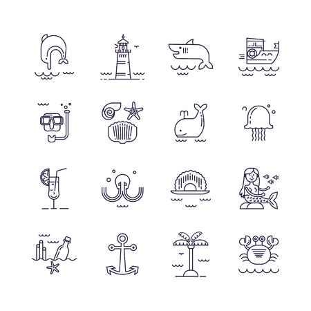 Set of marine icons in linear style. Illusztráció