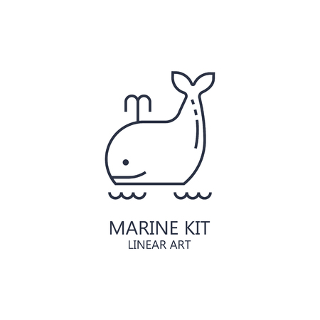 Sea whale vector illustration on isolated background