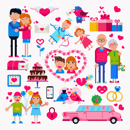 Valentine s Day. Set of icons and characters. Heart, Love, Letter. Couples grandma and grandpa, the girl and the guy little children. Flat illustration