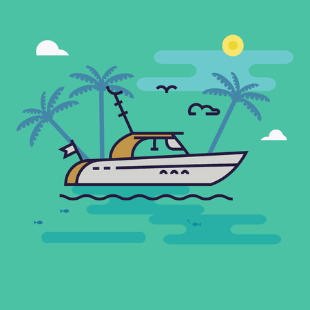 Sailboat in the sea vector illustration