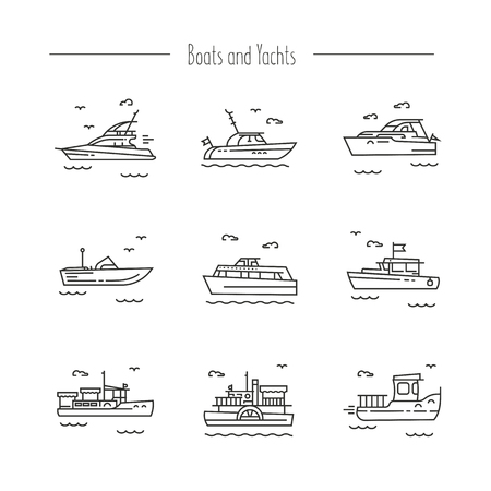 Set of contour icons of ships, yachts, boats
