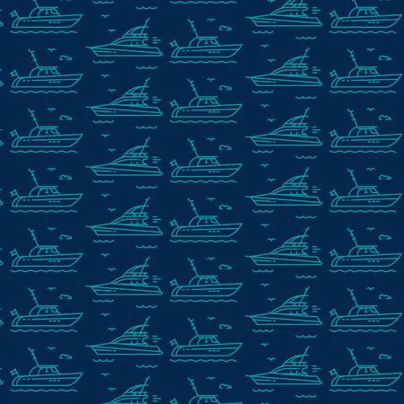 Seamless pattern icons of marine boats, yachts Illusztráció