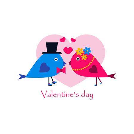 Couple in love birds kissing