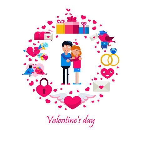 Valentine s day icons in circle Illusztráció