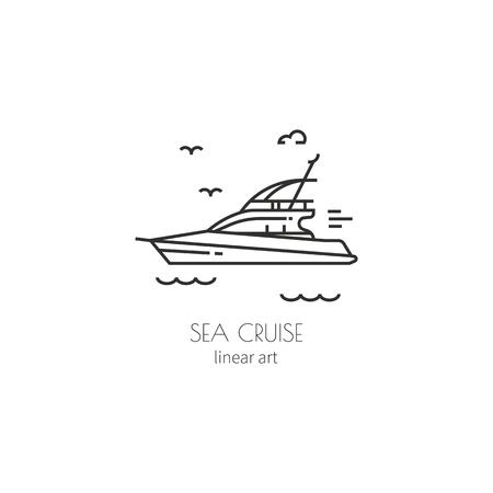 Contour icon sailing boats
