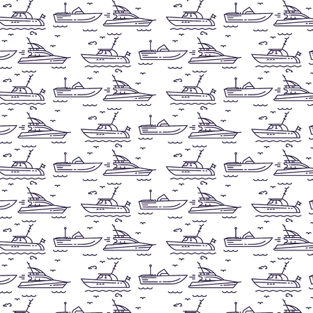 Seamless pattern with yachts Vectores