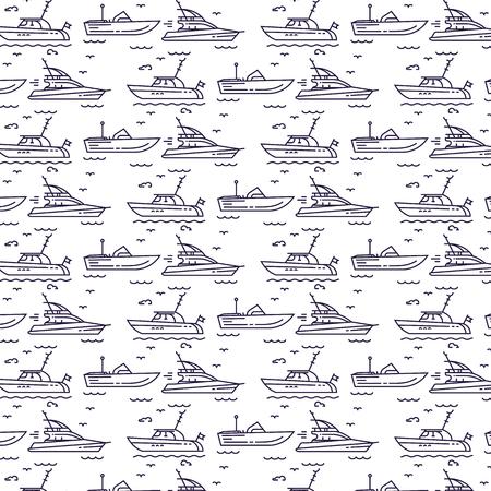 Seamless pattern with yachts Illusztráció
