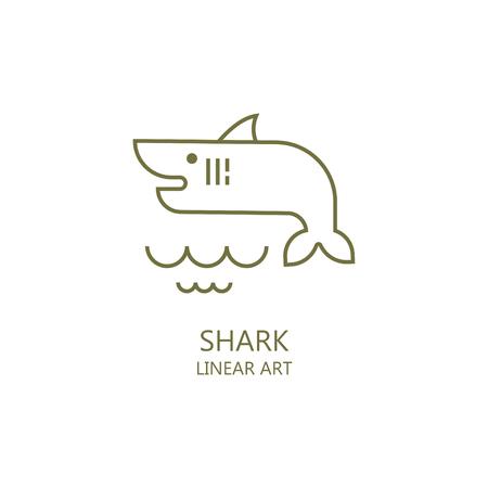 Simple illustration of marine life. Shark. It is possible to use as the logo Illusztráció