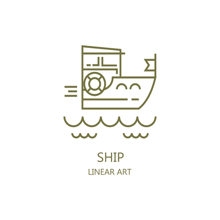 Boat sailing in the sea vector illustration